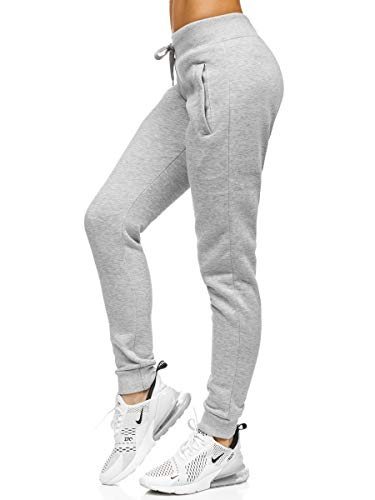 BOLF Damen Jogginghose Sporthose Freizeithose Trainingshose Sweathose Yogahose Sweatpants Baumwolle Hose Fitness Workout Basic Elastic J.Style CK-01 Grau XL [F6F]