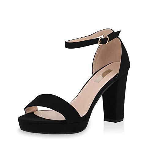 SCARPE VITA Damen Pumps Riemchensandaletten Plateau Sandaletten Elegante Sommer Party Schuhe Wildleder-Optik High Heels 170680 Schwarz 38