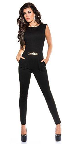 Eleganter Overall mit Goldschnalle in versch. Farben & Größen - Jumpsuit mit offenem Rücken (K6721) (L, 1 Schwarz) …