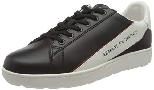 Armani Exchange Herren Leather Plain Sneakers Sneaker, Black Off White, 43 EU