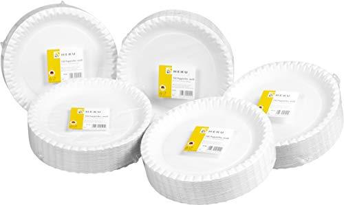 HEKU 30409-1: 500 Pappteller, weiß, rund, Ø 23cm, 100% Frischfaser ohne Beschichtung