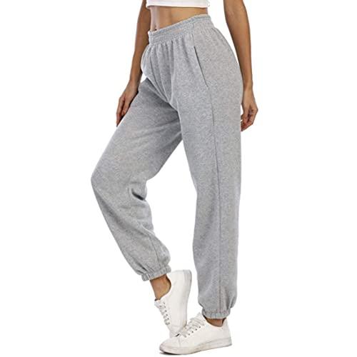 MoneRffi Jogginghose Damen Sporthose Lang Trainingshose Loose Fit Hohe Taile Yoga Hosen Freizeithose Laufhosen Baumwolle Sweathose mit Taschen