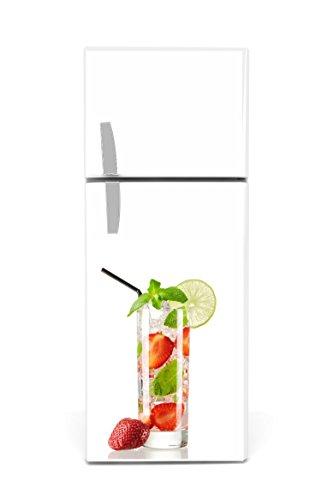 Kühlschrank Aufkleber 60 x 90 cm Longdrink Erdbeeren