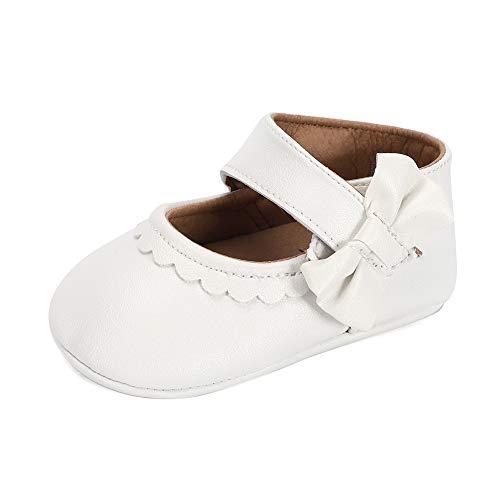 LACOFIA Baby Mädchen Ballerina Kleinkind Bowknot Prinzessin Taufschuhe Baby rutschfeste Krabbelschuhe Weiß 6-12 Monate