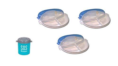 Conny Clever Mikrowellenteller Set (3 Menüteller mit DREI Unterteilungen, 3 Deckel, spülmaschinengeeignet, zum Einfrieren) 6-teilig Mikrowelle & Ofen Dampfgarer Reiniger für Reinigung