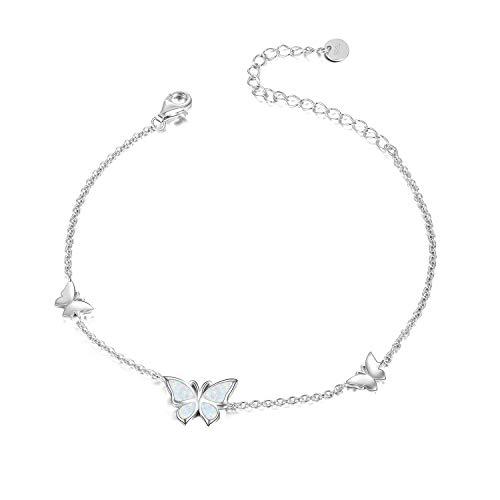 WINNICACA Schmetterling Opal Fußkettchen S925 Sterling Silber Weißgold Armreif Schmuck für Frauen Mädchen Geschenke
