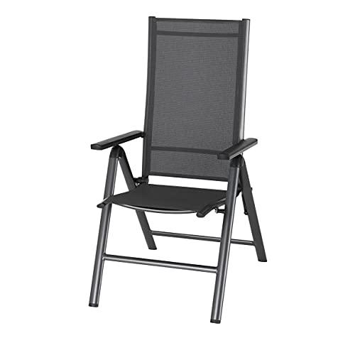 Design24 Klappstuhl Gartenstühle aus Aluminium Wetterbeständig Verstellbare Rückenlehne