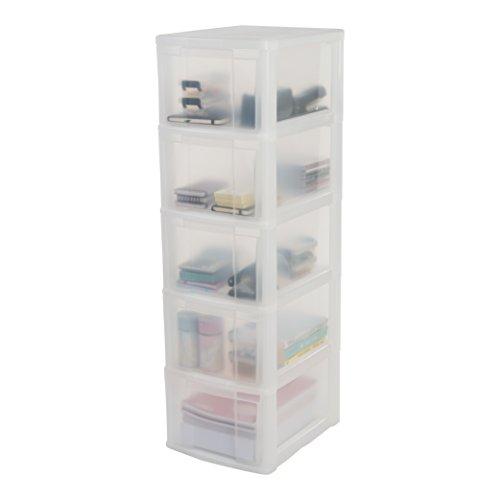 Iris Schubladenschrank / Schubladenbox / Rollwagen / Rollcontainer / Werkzeugschrank New Chest, NMC-305, mit Rollen, Kunststoff, frostweiß / transparent