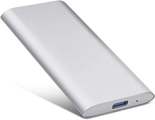 Externe Festplatte, tragbar, USB 3.1, externe Festplatte, tragbar, für Laptop PC (2TB, Silver)