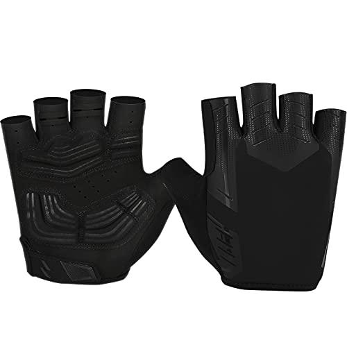 Cevapro Fahrradhandschuhe Herren Halbfinger Gel Stoßdämpfung Fitness Handschuhe Fingerlos rutschfest ideal für Radfahren MTB Downhill Wandern Herren Damen (XL, Schwarz)
