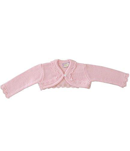 Babyprem Babykleidung 0-23 Monate Bolero Strickjäckchen Pullover Rüschen Rosa Creme ROSA 3-6