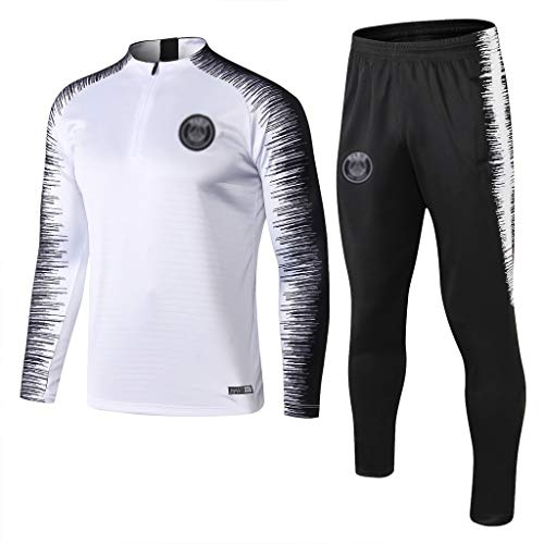 European Football Club Männer Fußball Sweatshirt Langarm Frühling und Herbst Breathable Sport Weiß Trainings-Uniform (Top + Pants) -ZQY-A0527 (Color : White, Size : S)