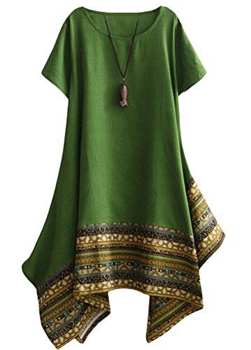 Vogstyle Damen Sommer Kleid Kurzarm Unregelmäßige Saum Ethnisch Mischfarben Baumwolle Leinen Lang Bluse Shirt, M, Grün
