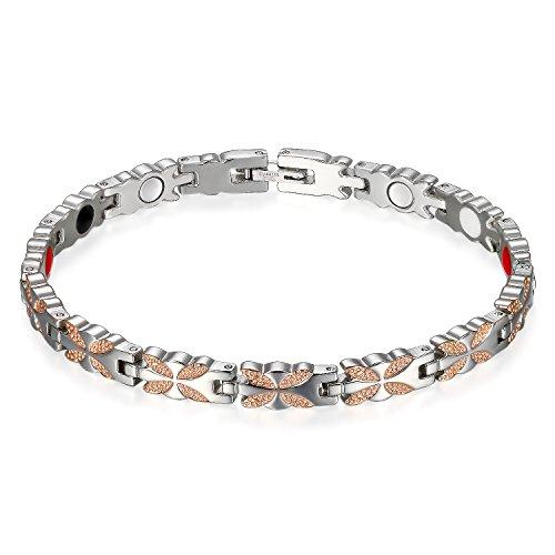 Flongo Damen Magnetarmband, Titan Magnet Therapie Kugel Perle Perlen Armband Armreif Magnetarmband Blatt Blätter Schmetterling Silber Rose Gold Gesundheit Elegant Damen