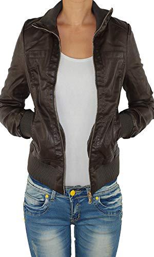 Damen Lederjacke Kunstlederjacke Leder Jacke Damenjacke Jacket Bikerjacke S - 4XL Schoko S