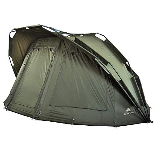 CampFeuer Angelzelt Hurricane I 2 Mann Karpfenzelt für Angler mit 10000 mm Wassersäule I wasserdicht I 2 Mann Bivvy Tent Anglerzelt I Fischerzelt mit Boden
