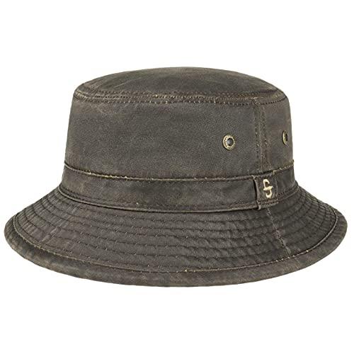 Stetson Drasco Stoffhut Herren - Packable - Washable - Freizeithut mit hohem UV-Schutz - Faltbarer Bucket Hat mit Baumwolle - Waschbarer Outdoorhut - Sommer/Winter braun XL (60-61 cm)