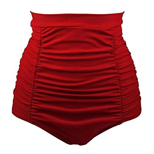 OverDose Damen Frauen Mädchen Bikini Baden Strandbadebekleidung Hohe Taille Badehose Shorts Hosen(Rot,2XL)