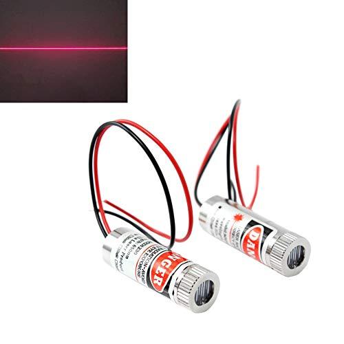WayinTop 2 Stücke Fokussierbare Lasermodul Strichlaser Fokus Einstellbar Laser Rot 3-5V 650nm mit Kunststoff Linsen (Linienlaser)