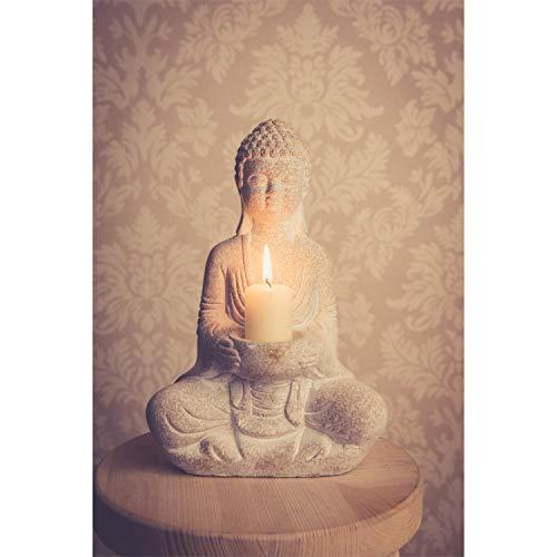 dszapaci Stein Buddha Figur Deko Weiß 30cm Thai Skulptur Teelicht Betende Garten Steinfigur Teelichthalter Statue Zen Buddhafigur
