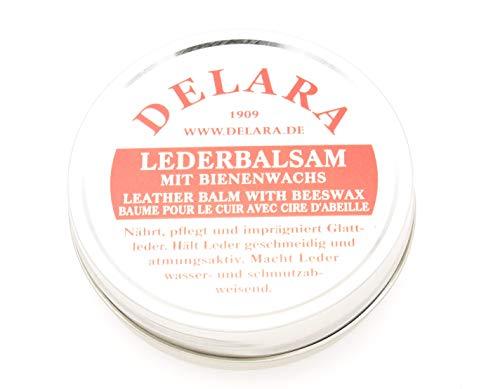 DELARA Lederbalsam mit hochwertigem Bienenwachs, Lederpflege, die das Leder weich, geschmeidig und atmungsaktiv Macht, 75 ml Dose, farblos, Made in Germany