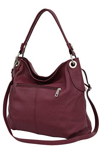 AMBRA Moda Damen echt Ledertasche Handtasche Schultertasche Beutel Shopper Umhängtasche GL012 (Bordeaux)