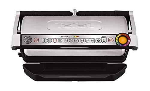 Tefal OptiGrill XL GC722D Kontaktgrill (mit XL-Grillfläche, Plus-Modell mit zusätzlichen Temperaturstufen, automatische Anzeige des Garzustands, 9 voreingestellte Programme) schwarz/Edelstahl
