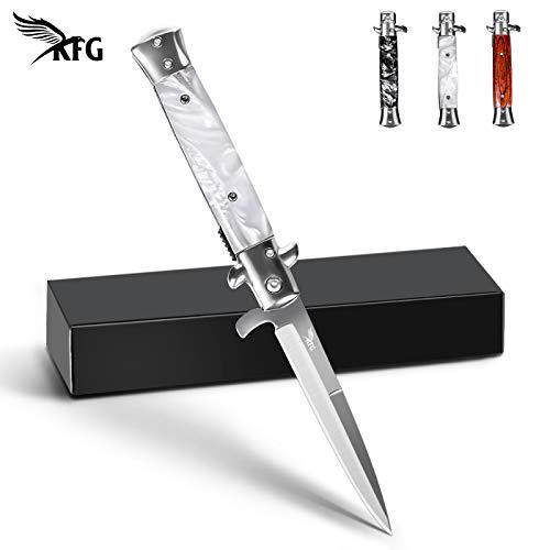 KFG Klappmesser Messer Taschenmesser mit Holzgriff Outdoor Messer aus Edelstahl , Einhandmesser (Weiß)