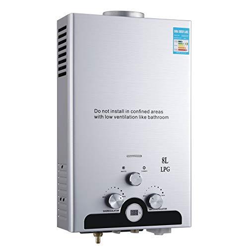 Z ZELUS 8L Gas-Durchlauferhitzer LPG Warmwasserbereiter Heißwasserbereiter Durchlauferhitzer Boiler Warmwasserspeicher Tankless Instant mit LED Bildschirm (8L)