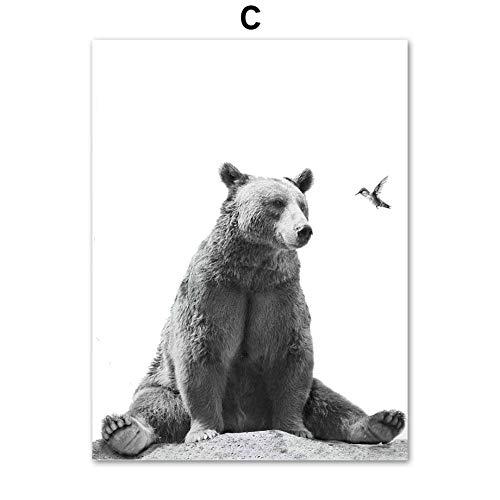 Niedlicher Bär Koala Hirsch Fuchs Vogel schwarz weiß nordisch Poster und Drucke Wandbilder Leinwandbilder Wandbilder Wohnzimmerdekoration 40x50cm