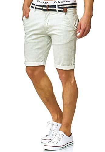 Indicode Herren Bourchier Chino Shorts mit Gürtel aus 98% Baumwolle | Kurze Karierte Hose Regular Fit Bermudas Sommerhose Herrenshorts Short Men Pants Chinohose kurz für Männer Surf Spray M