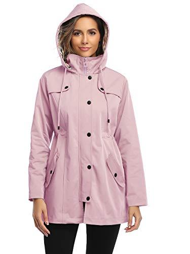 Damen Regenjacke Windbreaker Wasserdicht Kapuze Übergangsjacke mit Atmungsaktiv Futter für Frühling Sommer und Herbst Rosa S