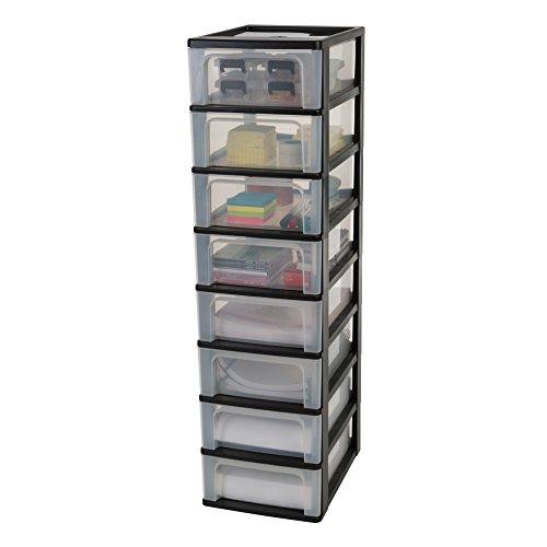 Iris Ohyama, Schubladenschrank / Schubladencontainer - Organizer Chest OCH-2008 - plastik, schwarz, 8 x 7 L, L35,5 x B26 x H96,5 cm