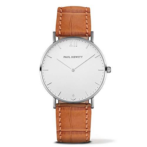 Paul Hewitt Unisex Erwachsene Analog Quarz Uhr mit Leder Armband PH-SA-S-St-W-16M