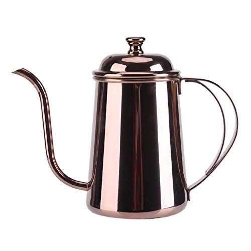 Yosoo Edelstahl Tee Kaffee Wasserkocher Gießen über Kaffee Topf Schwanenhals Kaffeekanne Teekanne 650ML (Rosengold)