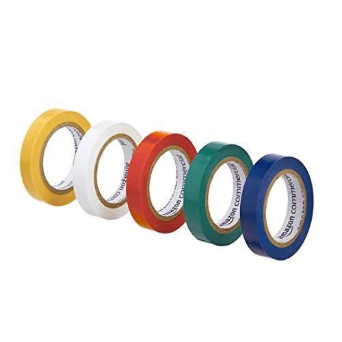 AmazonCommercial Isolierband, 1.27 cm x 6.08 m, verschiedene Farben, 10 Stück
