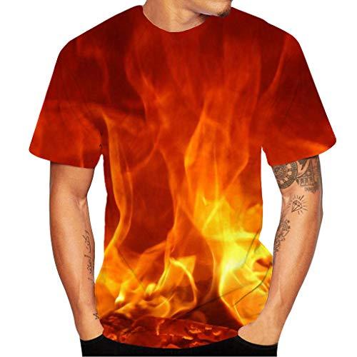 Herren T-Shirt 3D Flamme Druck Kurzarm Sport Rundhals Tee Spaß Motiv Tops Casual Hemd Freizeit Rot Kurzarmshirt E10