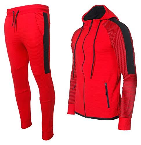 Herren Jogginganzug Trainingsanzug Männer Sportanzug Fitness Outfit Streetwear Tracksuit Jogginghose Hoodie-Sporthose Jogging-Hose Jogger Sportkleidung Slim Fit Modell 1121C-JK (Rot, S)