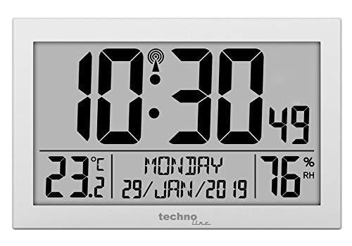Technoline WS8016 WS 8016 Funk-Wand-Uhr mit Temperaturanzeige, Kuststoff, silber, 225 x 143 x 24 mm