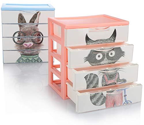 com-four® 2X Schubladenbox, Kunststoff-Aufbewahrungsbox für Kinder-Spielzeug, Bastelsachen, Make-up, Stifte - praktische Sortierbox [Auswahl variiert] (02x Boxen 4 Fächer 18x13x20)