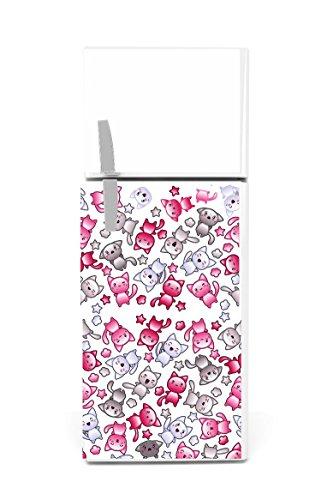 Kühlschrank Aufkleber 60 x 90 cm Manga Katzen
