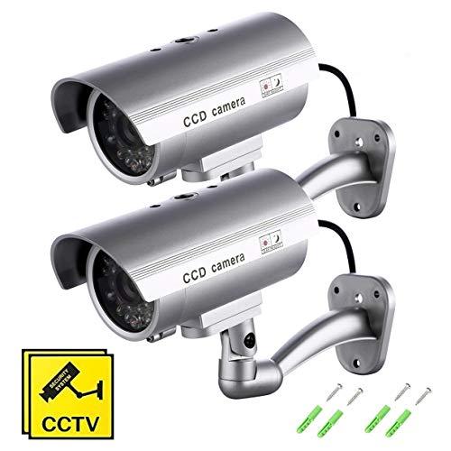 SeeKool 2 Stück Dummy Kamera, Fake Überwachungskamera mit blinkender LED Wettergeschütztes Aluminiumgehäuse, CCTV Camera Sicherheitkamera für Innen- und Außeneinsatz
