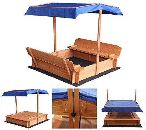 Home Deluxe - Sandkasten Buddelkiste - Mit verstellbarem Dach und Bodenplane - Maße: 130 x 120 x 120 cm - inkl. komplettem Montagematerial   Sandspielkasten Holzsandkasten Sandspielzeug