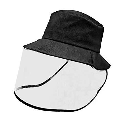 FakeFace Gesichtsschutzschild Hut, schwarzer Schlapphut mit abnehmbarem Gesichtsschutz Abdeckung Anti-Staub Schutz Hut Angelnhut Reise Sonnenblende Hut Wasserdicht Kinder