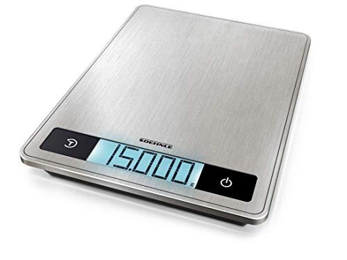 Soehnle Page Profi 200, digitale Küchenwaage silber aus Edelstahl, Gewicht bis zu 15 kg (1-g-genau), Haushaltswaage mit patentierter Sensor-Touch-Funktion, elektronische Waage inkl. Batterien