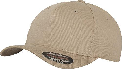 Flexfit 5 Panel Baseball Cap - Unisex Mütze, Kappe für Herren und Damen, einfarbige Basecap, rundum geschlossen - Farbe khaki, Größe L/XL
