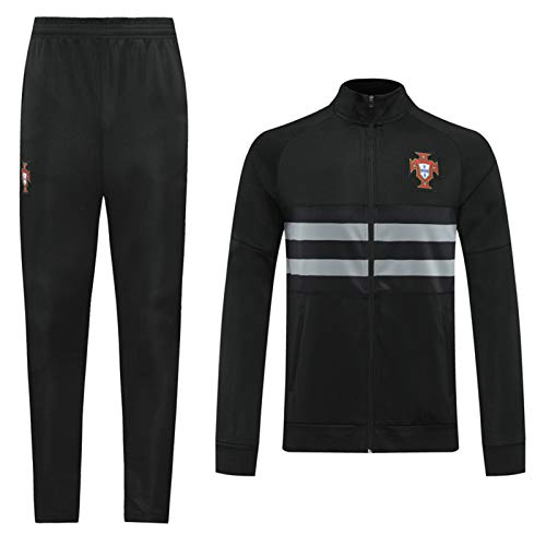 DIWEI Portugal-Fußball-Team Trainingsanzug, Langarm-Jacke für Herbst und Winter High Neck Zipper Breathable Jersey Suit 2 Stück Sets Black.b-XL