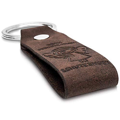 Coinkeeper® Schlüsselanhänger aus exklusiv Echt-Leder mit Gravur Schutzengel Geschenk für Frauen Männer Geburtstag Schlüsselband mit Geschenkbox