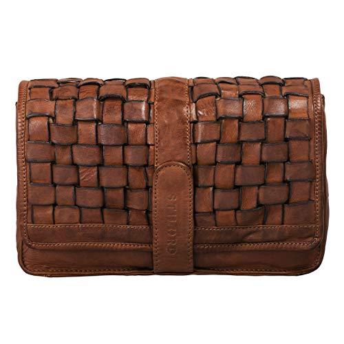STILORD 'Ella' Handtasche Damen Leder klein Vintage Clutch geflochten Abendtasche Ausgehtasche für Party Disco Freizeit echtes Rindsleder, Farbe:Ocker - braun