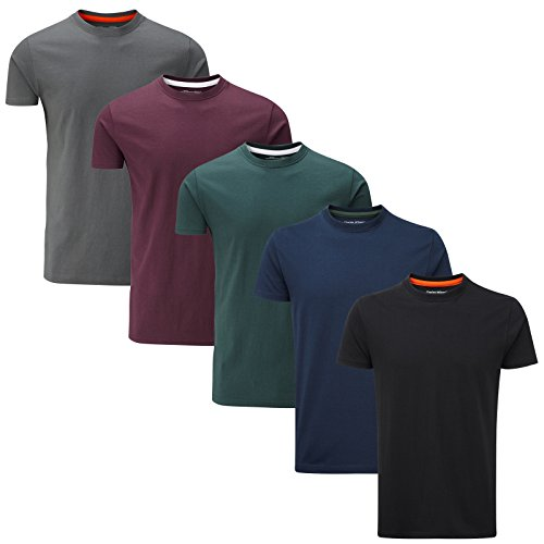 Charles Wilson 5er Packung Einfarbige T-Shirts mit Rundhalsausschnitt (3X-Large, Dark Essentials Type 41)